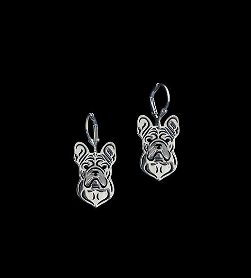 French bulldog dog earrings Handmade Carved hollow accessory jewelry Silver/golden colors plated fast delivery