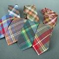 Lazos de Los Hombres Corbata Cravate Moda A Cuadros Trajes de Negocios casuales de Algodón Flaco Lazo Masculino Corbata de Boda Corbatas Accesorios de la Marca