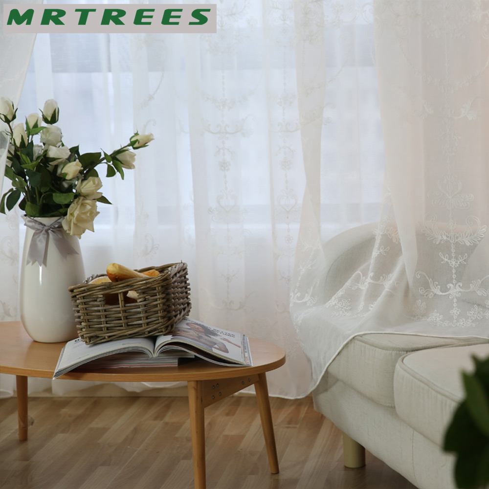 MRTREES Modern Embroidered Sheer Curtains Window Tulle Curtains for ...