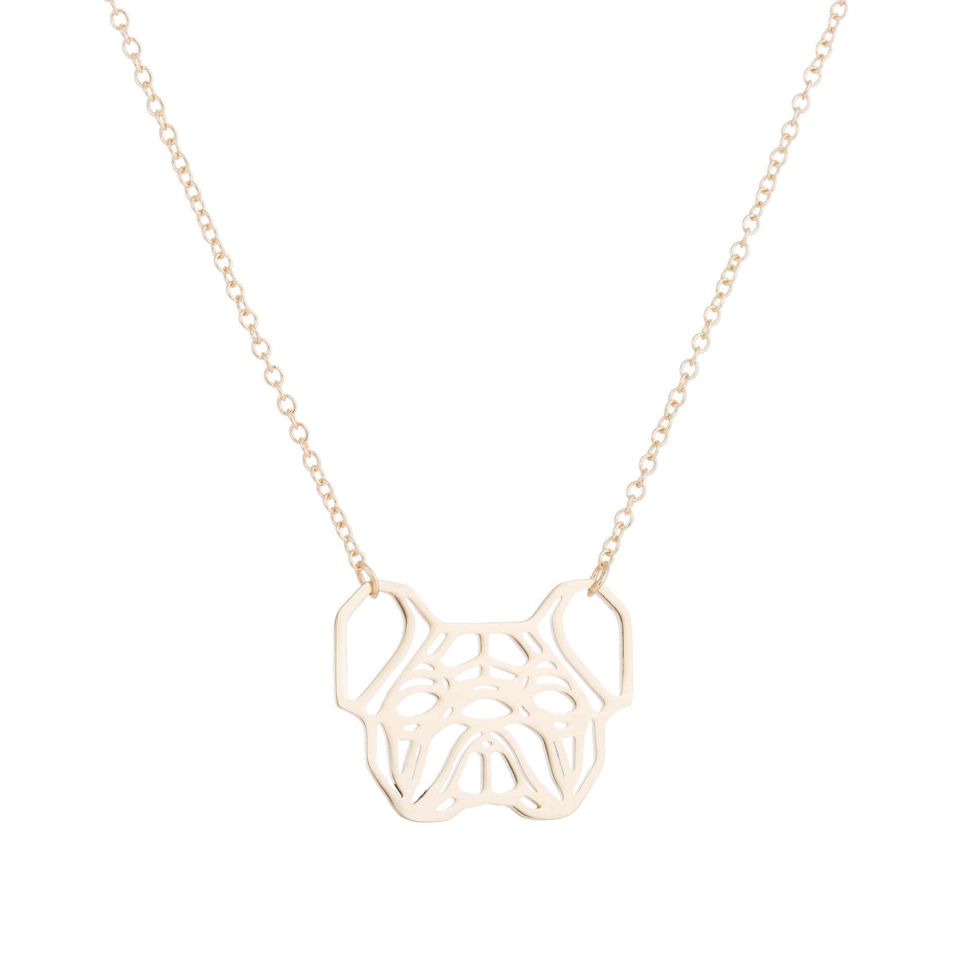 ヒナギクフレンチブルドッグネックレス幾何折り紙犬ユニークなペンダントネックレス女性アニマルジュエリー