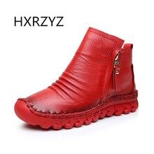 HXRZYZ Auténticas botas de invierno de las nuevas mujeres del resorte Mujeres Mujeres Mujeres Fall zapatos botines con cremallera lateral