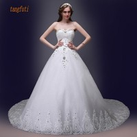 Real Picture Sparkly Long Wedding Dress Sweetheart Beading Sequins Crystals Appliques A Line Backless Bridal Dresses
