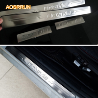 Free Shipping 2007 2012 Skoda Octavia Stainless Steel Scuff Plate Door Sill Car Accessories For Skoda