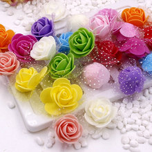 144 pcs 2.5 cm Mini Foam Rose Artificial Flowers For Home Wedding Car Decoration DIY Wreath Decorative Bridal Flower Fake