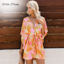 WildPinky Floral Print Sand Spot Mini Summer Dresses Women V Neck Casual Beach Sundress Sexy Botton Wrap Bodycon Dress Female