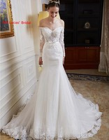 2018 Sexy Mermaid Wedding Dresses Long Sleeve Illusion New Bridal Party Gowns Fairytale Princess Dress