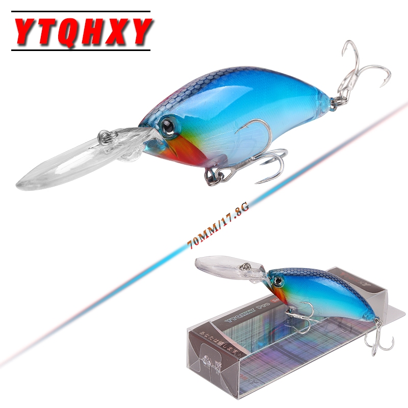 YTQHXY Deep Diving Crankbait Fishing Lures 17.8g/70mm peche isca artificial Bait Lifelike Wobblers With 6# Quality Hooks YE-103Y
