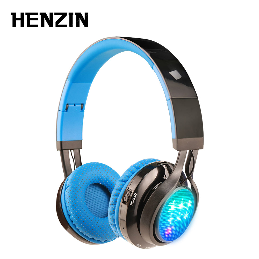 LED light Bluetooth headphones Foldable Wireless Earphone Stereo Surrounded Sound Music Wired Headset w Mic FM TF for PC Phone bs 361 folding stereo bass headphones w tf fm speaker deep blue white