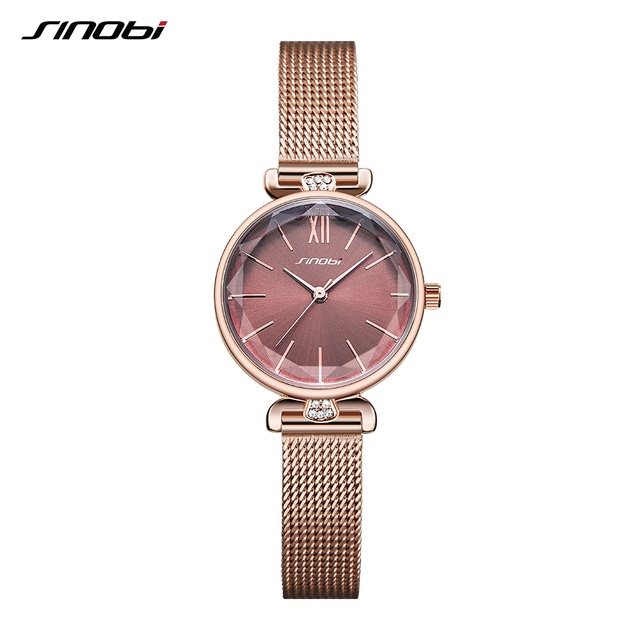 SINOBI модные элегантные часы для женщин часы Алмазный тонкий часы японские кварцевые часы дамы Роза золотые наручные часы Montre Femme 2019