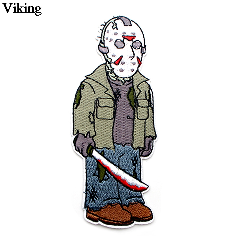 Friday The 13th Horror Killer Patch Jason Voorhees Iron On Embroidered Patches Sewing Fabric Stickers Diy Appliques Badge G0043