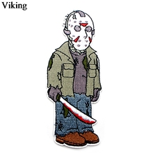 Friday the 13th Horror Killer Patch Jason Voorhees Iron On Embroidered Patches Sewing Fabric Stickers Diy Appliques Badge G0043 friday the 13th character jason voorhees vinyl cute figure model doll toys