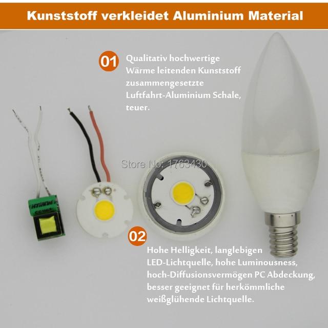 E14 LED Lampe Ersetzt 40 Watt 6500 Kelvin 4.5 Watt 400 Lumen Matt Kerze  Lampen [