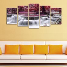 5 Panel Waterfall Tree Canvas Painting Wall Pictures For Living Room Modular Paintings Cuadros Decoracion Oil Paintings Picture(China)
