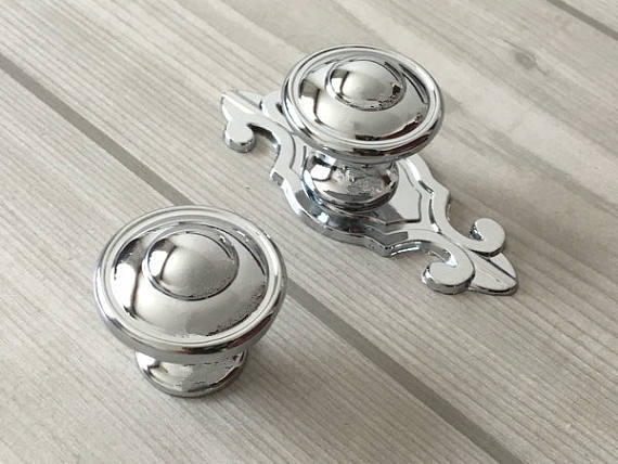 Silver Knob Drawer Knobs Dresser Knob Pulls Handles Kitchen Cabinet Door Knobs Modern Pull Handle Back Plate Polished Chrome Lyn furniture drawer handles wardrobe door handle and knobs cabinet kitchen hardware pull gold silver long hole spacing c c 96 224mm