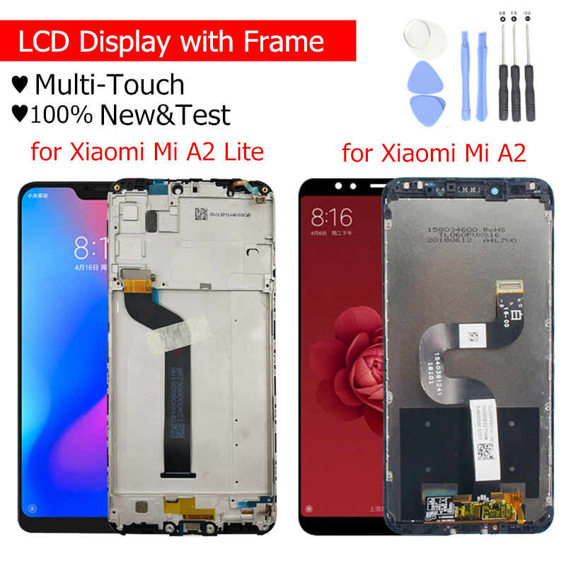 LCD Display For Xiaomi Mi A2 Global/ Mi A2 Lite LCD Display Touch Screen With Frame LCD Display Digitizer 10 Touch Repair Parts(China)