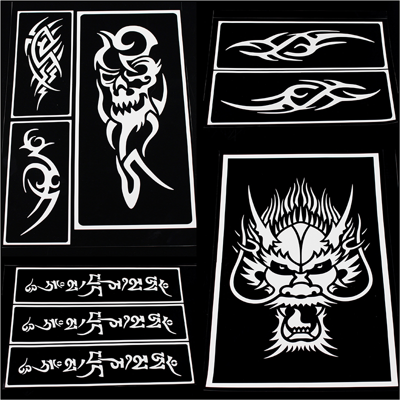 OPHIR 15 Big Size Airbrush Stencils for Body Painting Henna Temporary  Tattoo Stencils Set Airbrushing Art Pattern Booklet _TA096-in Tattoo  Stencils