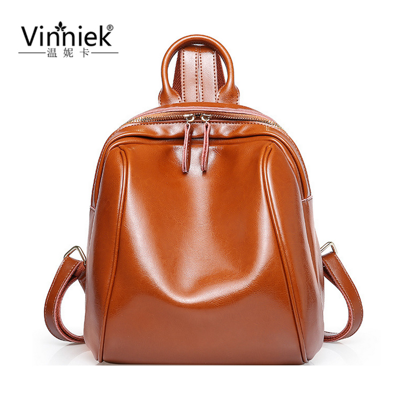 100% Oil wax Genuine Leather Backpack Small Rucksack Women School Bags For Teenagers Female Bagpack Laptop Backpacks mochilas 100% genuine leather laptop backpacks for teenagers 7273a