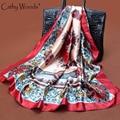 Женщины большой площади китайский дракон шарф шеи обруч шали платок леди отпечатанные банданы шелк шифоновый шарф шейный платок шарфы