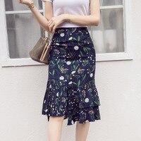 Casual Vintage Irregular Ruffle Slim Hip Fish Tail Skirt High Waist Chiffon Bust Skirt Bag Skirt