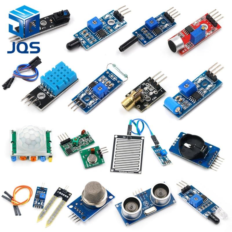 16pcs/lot Raspberry Pi 2 3 The Sensor Module Package HC-SR04 501 DHT11 DS3231 KY-008 Sound Rain Soil Sensor For Arduino Kit