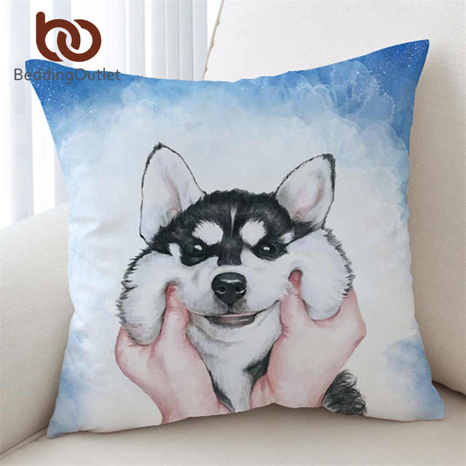 Beddingoutlet Husky Puppy Cushion Cover Watercolor Pillow Case White Square Throw Cover For Kids Animal Decorative Pillow Cover