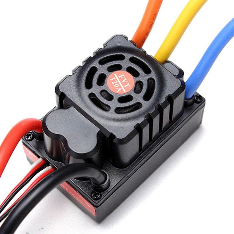 FATJAY FVT 2 6S LiPo Battery 120A Waterproof sensored sensorless Brushless Car ESC For 1/8 1/10 RC Car Model