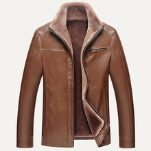 England Style Vintage Mens Fur Leather Jacket Coat Super Quality Big and Tall Mans Men Winter Leather Jacket Overcoats Warm C170