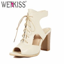 Super Big Size 33 48 Sexy Peep toe Lace up Sandals Rome Slingbacks Cutouts Summer Shoes