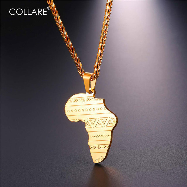 Collare African Map Pendant Men 316L Stainless Steel Hippie Jewelry