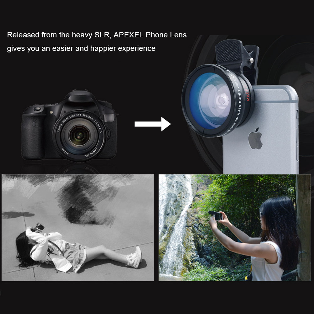 APEXEL 2 in 1 HD Camera Lens 0.45x Super Wide Angle&12.5x Macro Mobile Lens phone lens For iPhone 11 Xiaomi Samsung Mobile Phone Lens    -