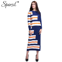 Sparsil Women Autumn Cashmere Blend Striped Style O Neck Pullover Sweater Long Skirt Lady Casual Knitted