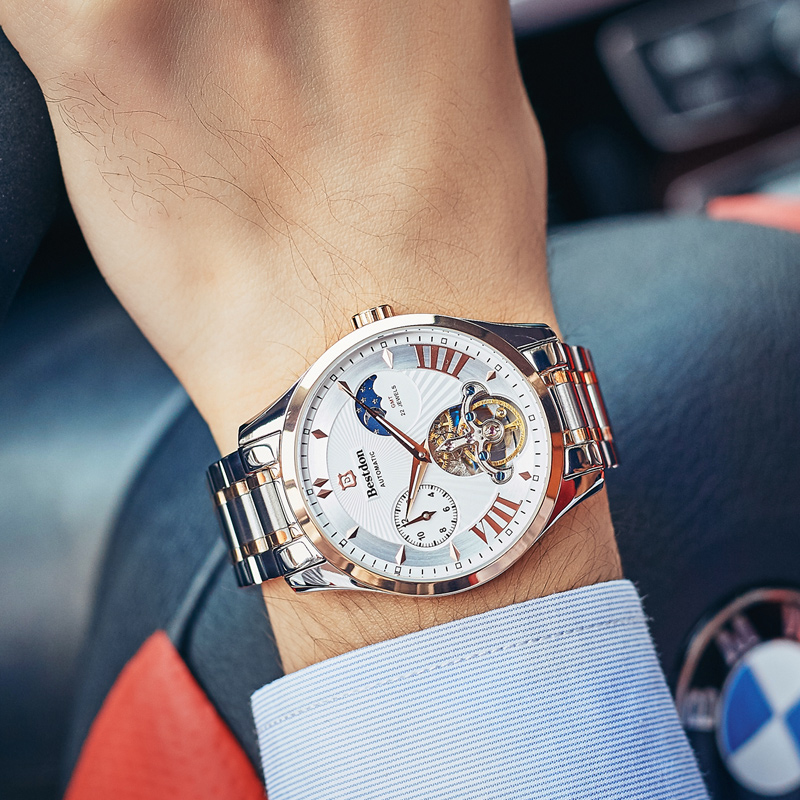 Bestdon Brand Men Watches Automatic Mechanical Watch Tourbillon Clock Full steel Casual Business Wrist watches relogio masculin fashion fngeen brand simple gridding texture dial automatic mechanical men business wrist watch calender display clock 6608g