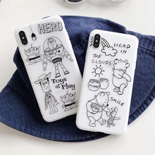 Cute Cartoon Toy Story Buzz Woody Phone Case For iPhone 6S 7 8 Plus matte white Soft TPU 6 X XS MAX XR off