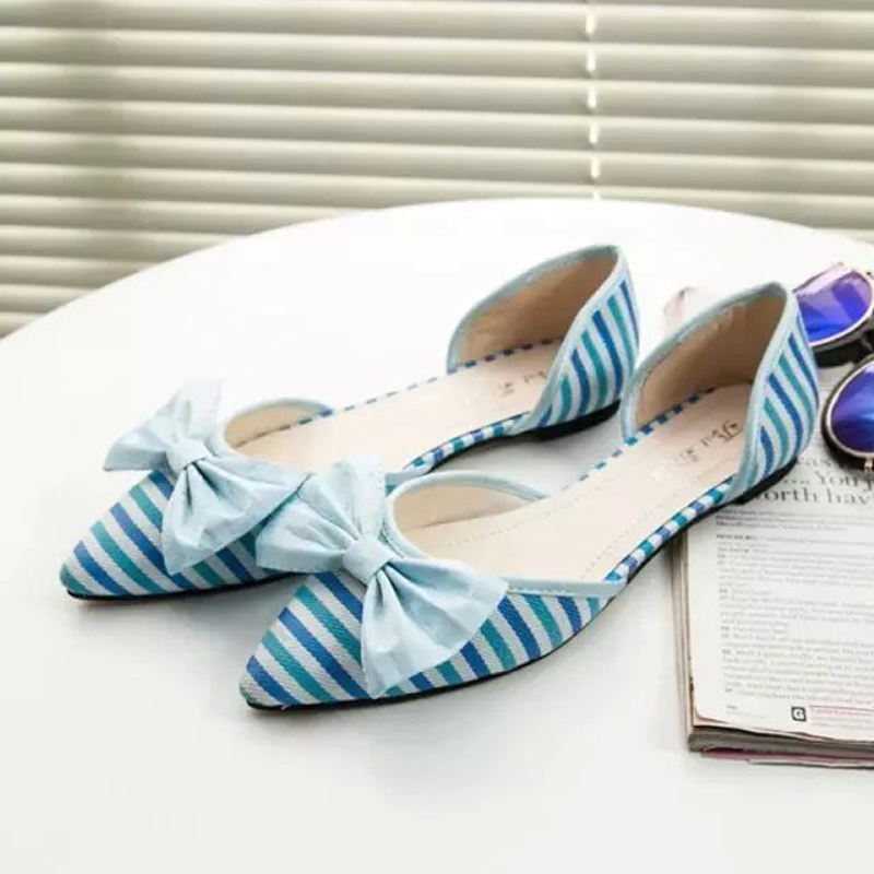 New spring hot autumn fashion casual slip-on shoes pointed toe flat shoes cute stripe bowtie soft canvas soild flats boat shoes new hot spring summer high quality fashion trend simple classic solid pleated flats casual pointed toe women office boat shoes