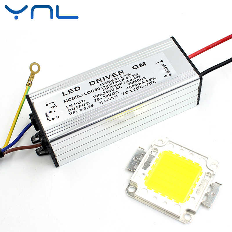 YNL Real Watt LED 10W 20W 30W 50W High Power COB LED Lamp Chip & LED Power Supply Driver 1Set For LED Flood light