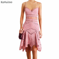 2018 Women Sexy V Neck Two Pieces Set Sexy Sleeveless Lace Dresses Female Solid Hollow Out Knee Length Bodycon Dress Pink