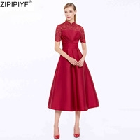2018 Women Elegant Square Collar Solid Classic Party Ball Gown Dress Vestidos Short Sleeve Hollow out Mid Calf Dress C200