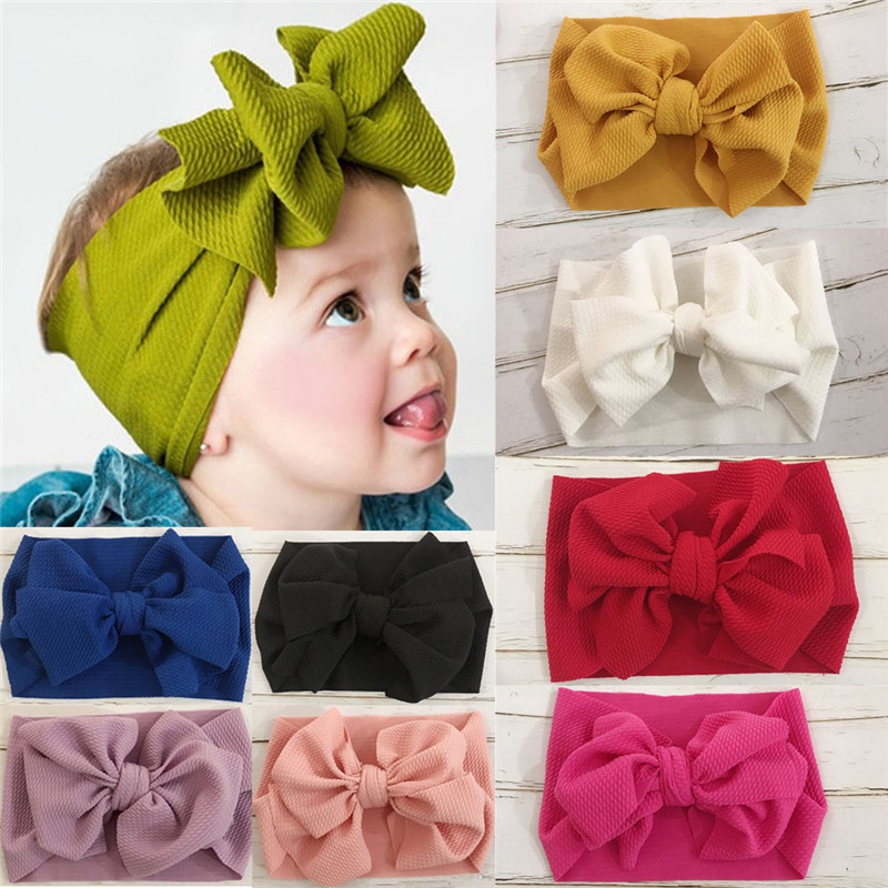 PUDCOCO Cute Toddler Girls Kids Baby Big Bow Headband Stretch Turban Knot Head Wraps Gifts  Hair Band Accessories Headwear
