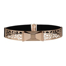 Seabigtoo Hollow out Elastic metal belts for women Bow gold belts fashion 2018 ladies belts female