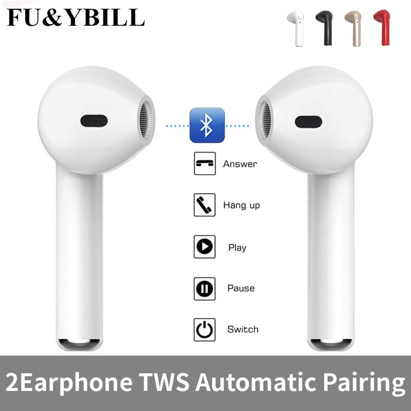 New Fu&y Bill I7 Bluetooth Headphone Twins Bluetooth V4.2 Stereo Headset Earphone for Iphone X/8/7plus/7/6s Plus Galaxy S8Plus