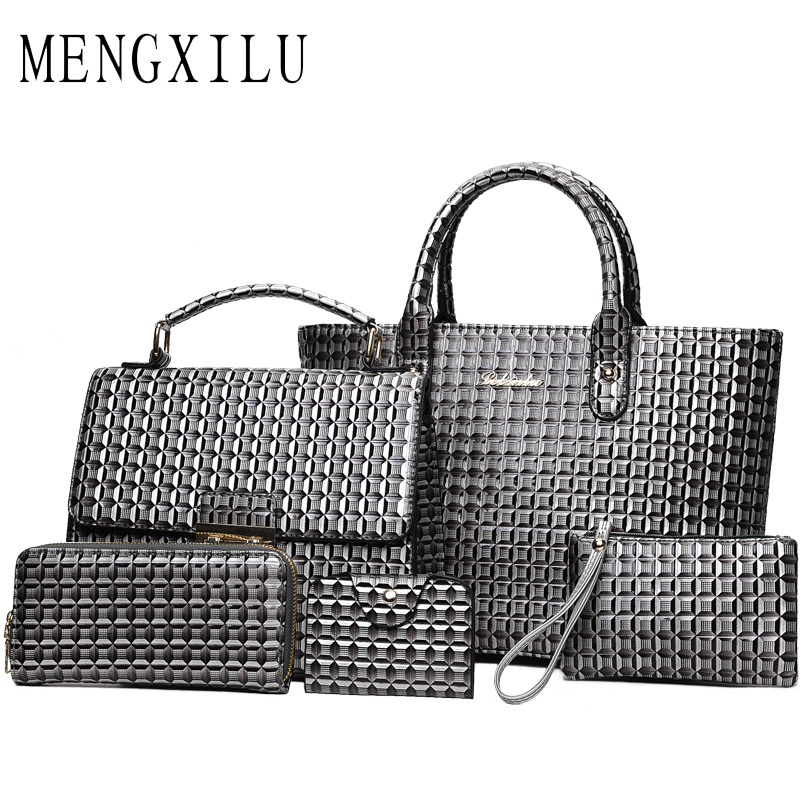 MENGXILU Fashion 3D Women Handbags High Quality PU Leather Women Crossbody Bags 5 Sets Women Messenger Bag Plaid Ladies Tote Bag ...
