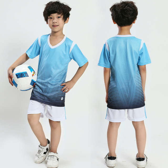 2019 new kids football soccer button jersey Child football set breathable training soccer jersey boys football jerseys uniforms