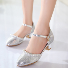 Children's high heels shoes, piano performance, silver shoe girl crystal shoes