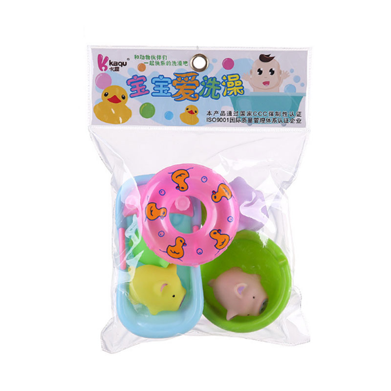 Cool Bath Toy Swimming Pool Baby Toys Kids Water Small Animal Set Duck Soft Rubber Toys For Boys Girls Safe Material
