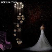 Good K9 Crystal Ceiling Mounted Light Fixture Large Long Staircase Lighting Clear Crystal Ceiling Lamp For