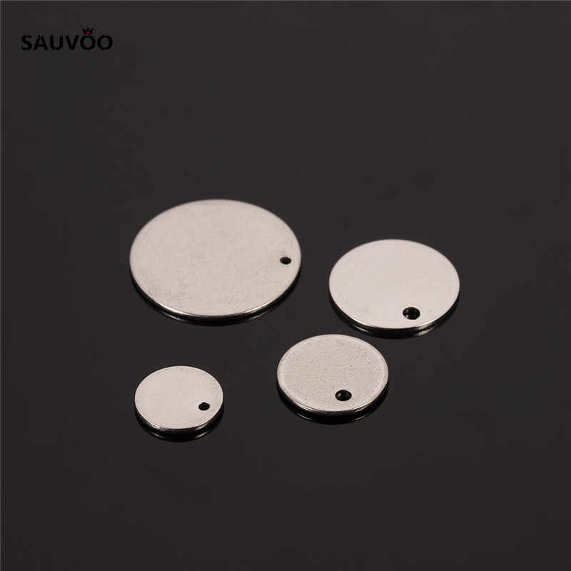 20pcs Round Stainless Steel Stamping Blank Dog Tags Pendants Silver Tone Tag Charms Fitting For Necklace Bracelet Making F2222
