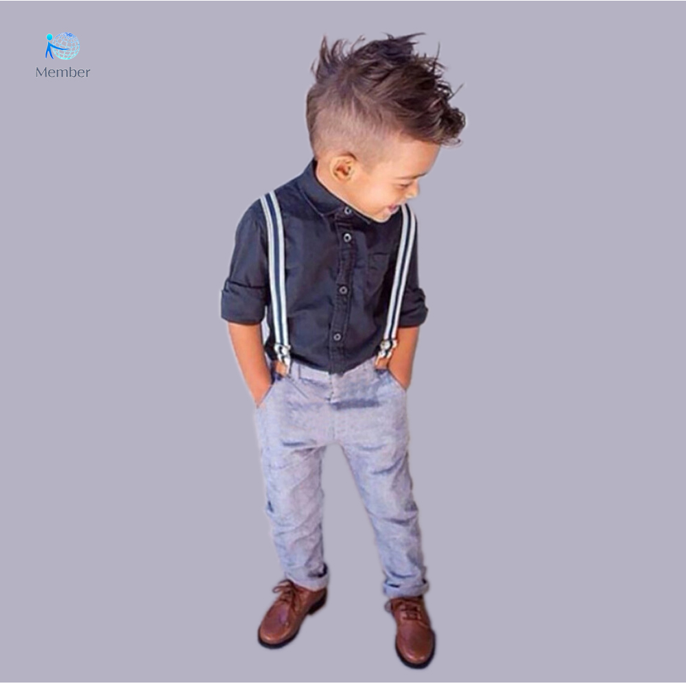 Kids clothes  Handsome boy suit Shirt strap two suits clothes for boys baby boy clothes 3 years Children Bib 30#