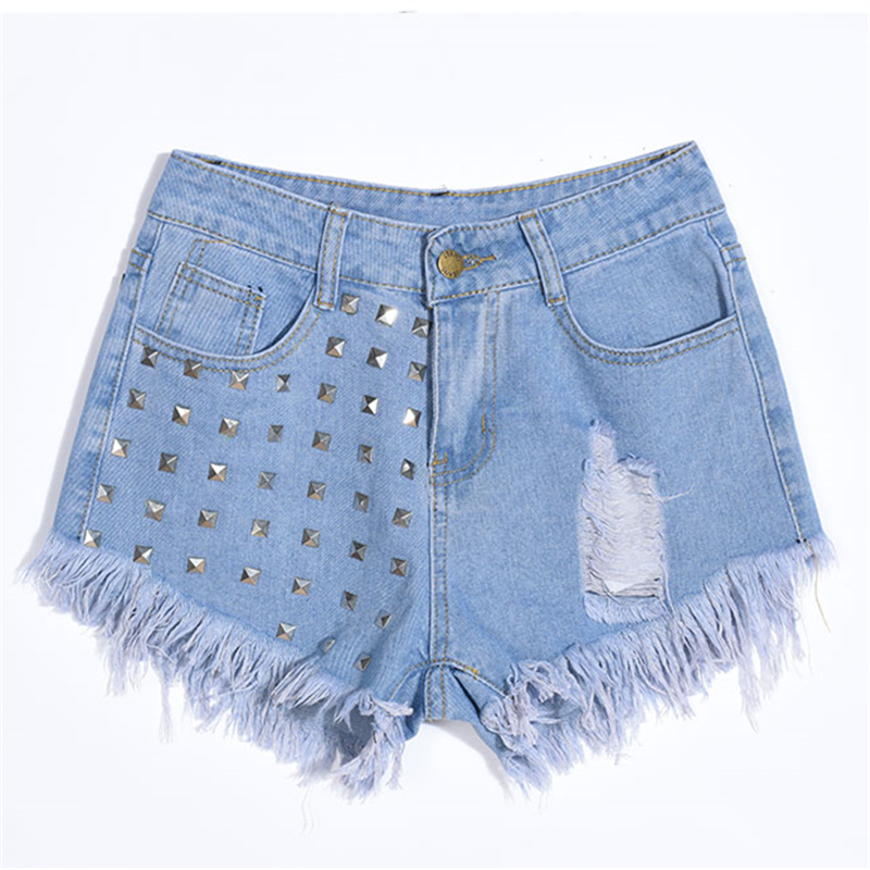 Mujeres Blanco Agujero Las Azul Caliente Verano S Remaches De Negro Cortos 2xl Moda Venta Borla Pantalones Alta Cintura Denim Jeans 2019 aZqYOBX