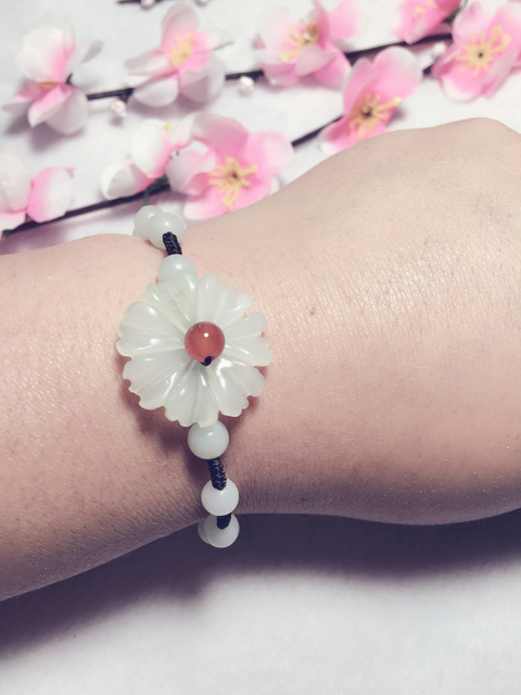 Women Nature Jade Bracelets / Natural Stone Flower Classic style / Storeage Wholesale