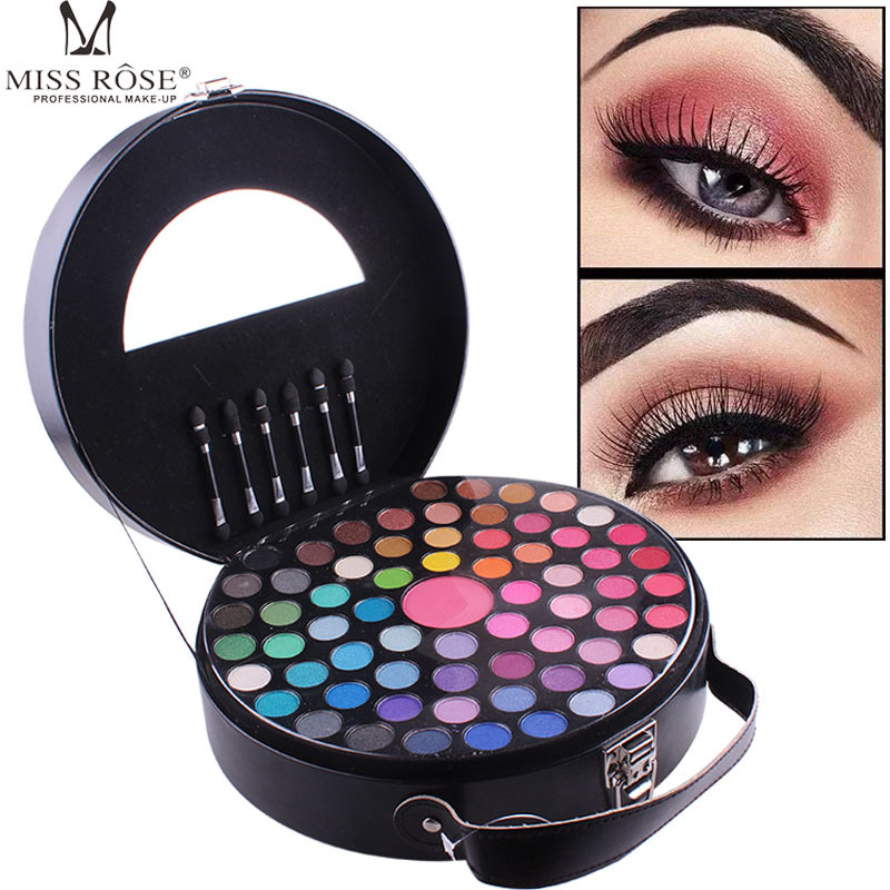 65 Colors Eyeshadow Blush Makeup Set Matte Shimmer Eye Shadow With Mirror And Brush Cosmetic Box Portable Round Cosmetic Case 177 full colors professional eyeshadow palette makeup tool set matte shimmer eye shadow beauty cosmetic pigmented with brushes